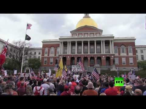 شاهد تظاهرات في بوسطن الأميركية ضد إجراءات الحجر المنزلي
