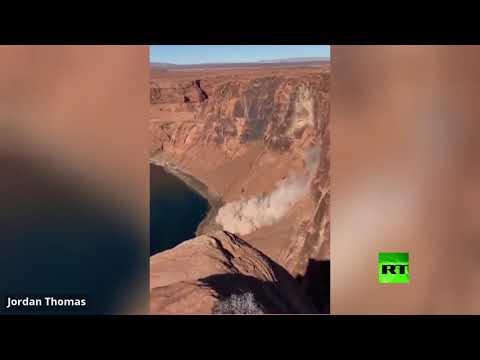 شاهد لحظة انزلاق صخري قرب منتزه غراند كانيون الأميركي