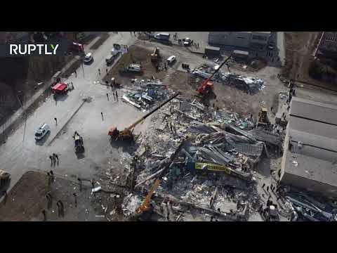شاهدتصوير جوي لآثار انفجار كبير هز مركزا تجاريا في فلاديقوقاز الروسية