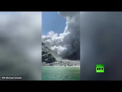 شاهد لحظة ثوران مفاجئ لبركان في نيوزيلندا يوقع 5 قتلى