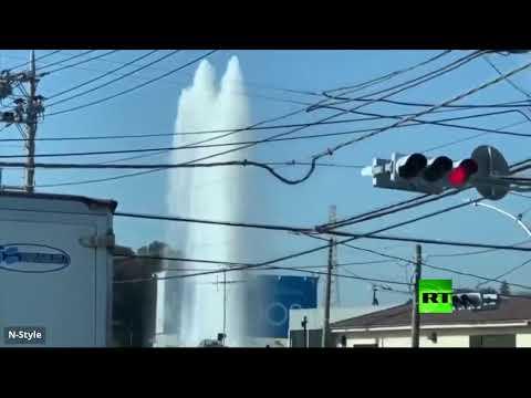 شاهد كسر أنبوب يتسبب بظهور نافورة عملاقة في اليابان