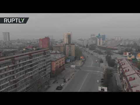 شاهد دخان حرائق الغابات يغطي نوفوسيبيرسك الروسية