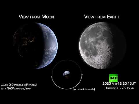 شاهد فيديو مبتكر يعرض مشهدًا رائعا يجمع الأرض والقمر