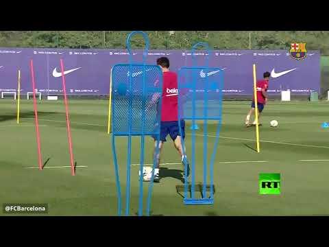 شاهد ميسي في تدريبات برشلونة للمرة الأولى منذ انتهاء أزمة رحيله
