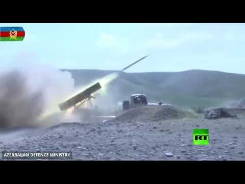 شاهد قوات أذربيجان تقصف مواقع أرمينية في قره باغ بالمدفعية