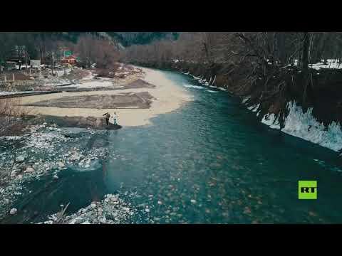 شاهدظاهرة طبيعية مذهلة لالتقاء نهرين بدرجات حرارة مختلفة